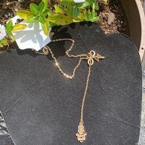 Boho hamsa hand necklace